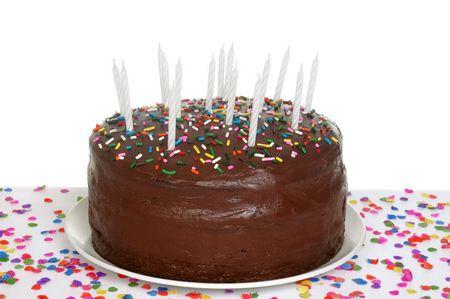 chocolate birthday cake with candles Banco de Imagens