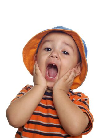 two-year-old boy shouting or yelling surprised