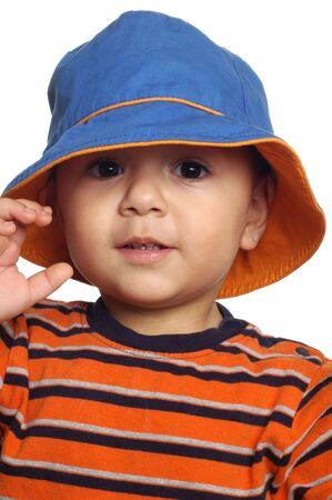 1 2 years: Two-year-old boy wearing a fisherman hat Stock Photo