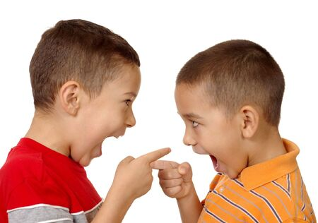 hatred: kids arguing, 5 and 6 years old Stock Photo