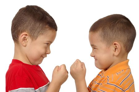 kids fighting, 5 and 6 years old Stock Photo