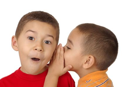 kids whispering a secret, five and six years old