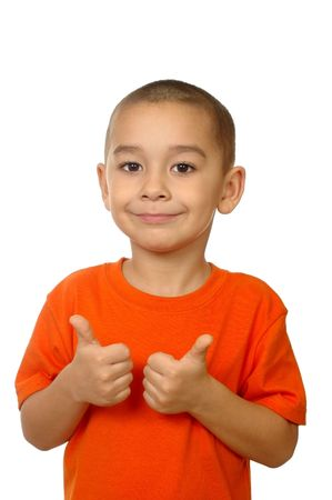 crewcut: Five year old boy giving thumbs up, isolated on white
