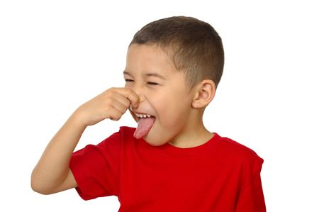 odour: kid holding his nose, isolated on white