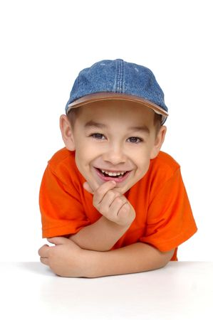 boy with denim cap, isolated on white background