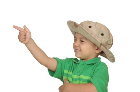 boy shooting with finger, 3 years old, isolated on white photo