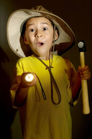 flashlights: boy exploring with flashlight gets frightened