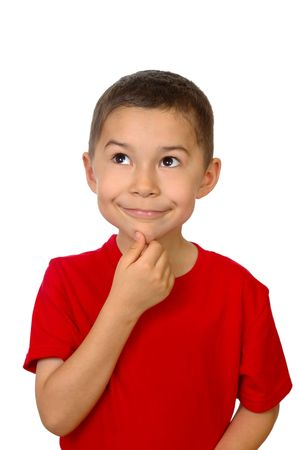 one year: Seven-year-old boy looking up thinking, isolated on white Stock Photo