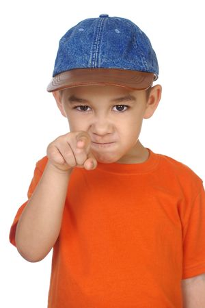 accuse: five year old kid pointing a finger at you, isolated on white Stock Photo