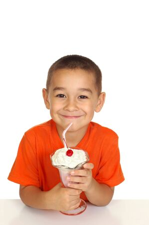 crewcut: kid with milk shake, on white background