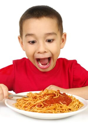 kid with spaghetti, isolated on white