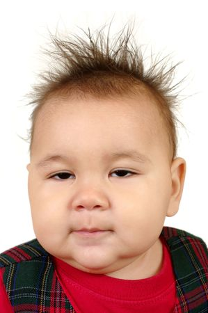baby girl with messed-up spiky hair, isolated on white background Stock Photo - 5672629
