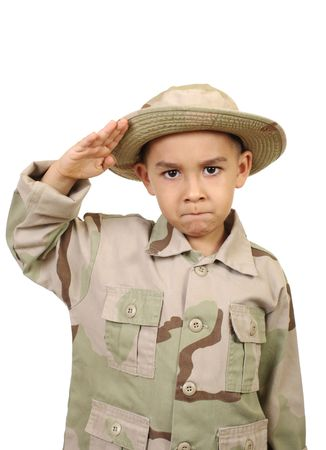 saluting: kid in camouflage uniform saluting, isolated on white Stock Photo