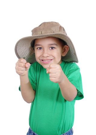 excited kid with hands up, isolated on white Stok Fotoğraf