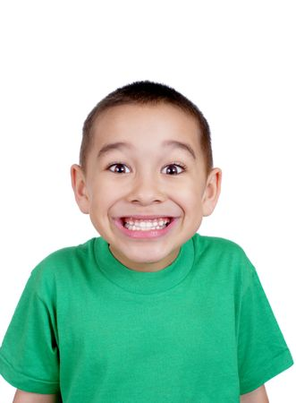 huge: kid making a silly face, with big toothy smile, isolated on white