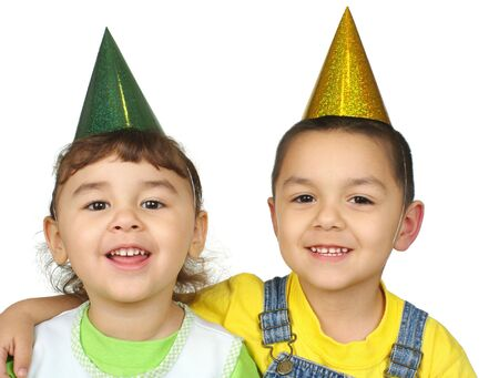 Kids with party hats photo