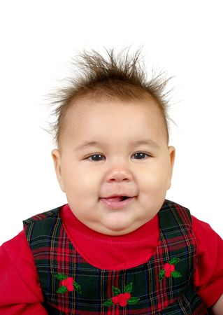 spiky: Cute baby girl with funny spiky hair