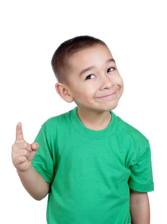 knowing: Kid pointing up looking wise
