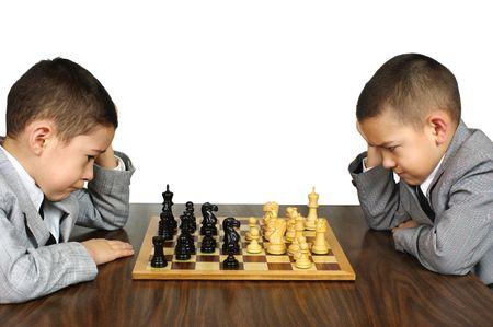 indoors: Kids playing chess Stock Photo