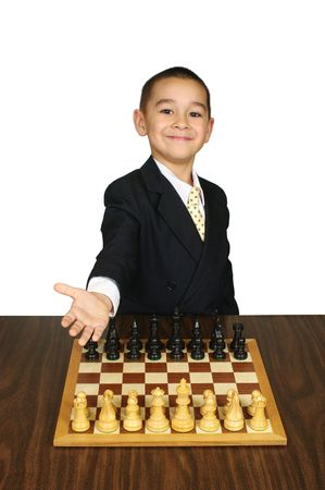 crewcut: Kid inviting you to play chess, smiling, its your move