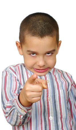 pointing finger: Boy pointing finger at you Stock Photo