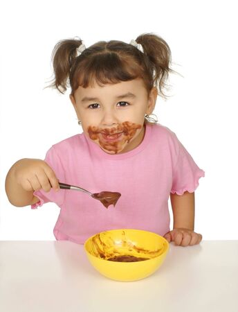 kid with chocolate pudding messy face Stock Photo - 6838193