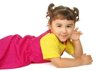 Cute little girl in pink and yellow outfit Stock Photo - 6838308