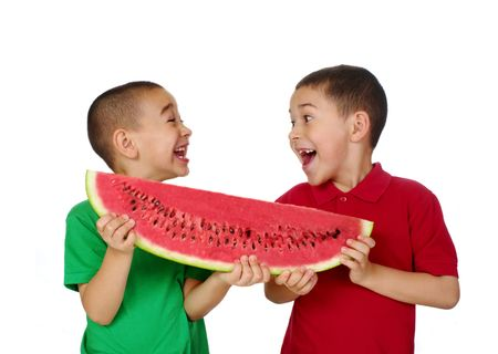 the share: Kids and watermelon Stock Photo