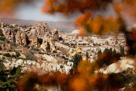 Mountain landscape and fortress in Cappadocia, Turkey. Archivio Fotografico - 124558686
