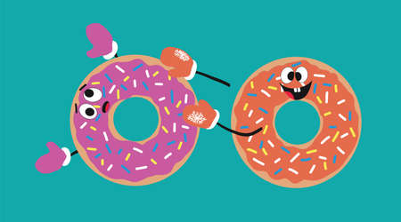 fun glazed donuts with eyes and mittened hands