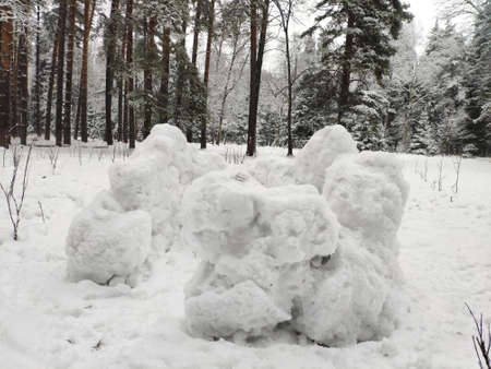 snow fortress from the snow balls in the winter forest