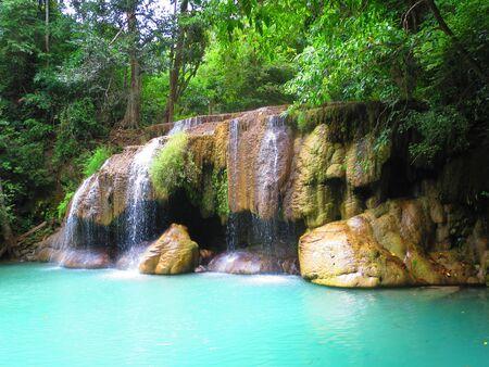 Erawan Waterfall, Thailand 版權商用圖片