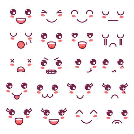 Kawaii leuke gezichten, Kawaii-emoticons, het schattige ontwerp van karakterspictogrammen.
