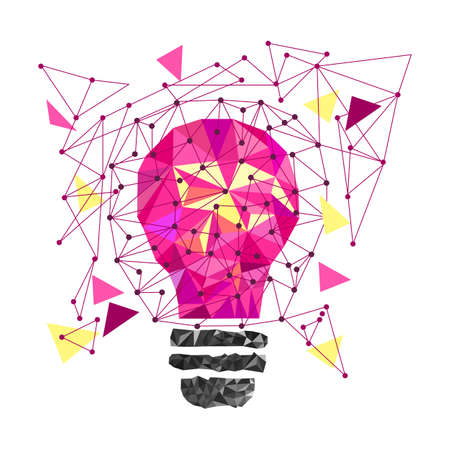 Low Poly Style Light pink bulb. Vector abstract Illustration on isolated background. Idea concept. T-shirt design