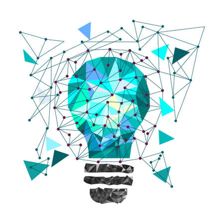 Low Poly Style Light blue bulb. Vector abstract Illustration on isolated background. Idea concept. T-shirt design