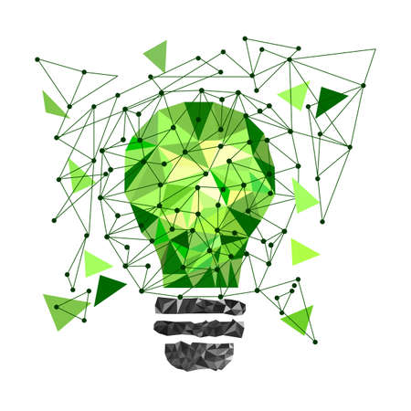 t bulb: Low Poly Style Light green bulb. Vector abstract Illustration on isolated background. Idea concept. T-shirt design. Illustration