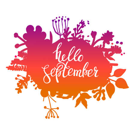 Autumn foliage abstract vector banner. Typographic greeting card design. Hello September.