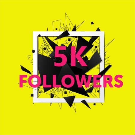 Vector thanks design template for network friends and followers. 5k followers card. Image for Social Networks. Web user celebrates large number of subscribers or followers.