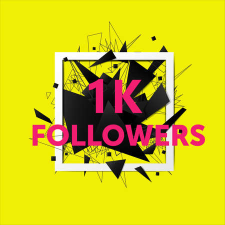 Vector thanks design template for network friends and followers. 1k followers card. Image for Social Networks. Web user celebrates large number of subscribers or followers. Illustration