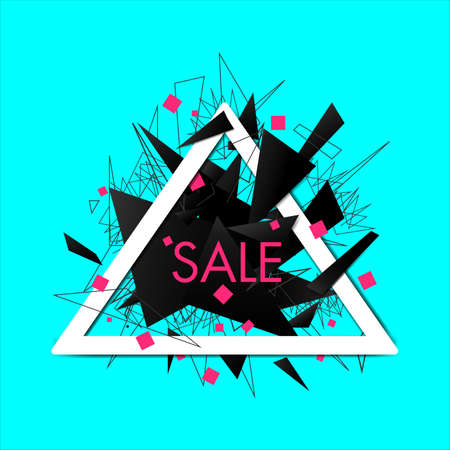 Abstract explosion sale banner with triangular frame Illustration