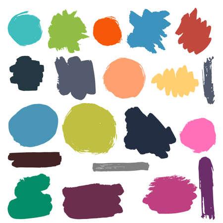 brushstroke: Flat hand drawn brush strokes and spots color vector set. Illustration