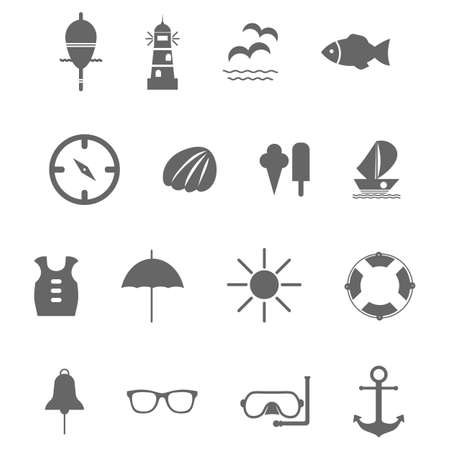 set of grey vector icons for summer sea travel