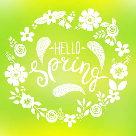 Hello spring lettering greeting card. Ilustrace