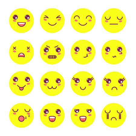 Kawaii cute faces, Kawaii emoticons, adorable characters icons design.