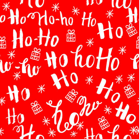 ho pattern with snowflakes. Seamless christmas pattern. Hand drawn lettering on red background 写真素材 - 107353290