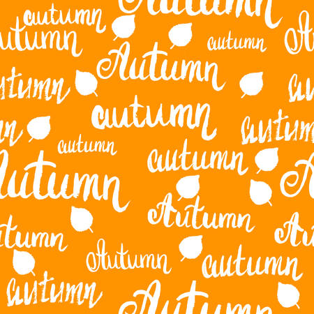 Seamless lettering autumn pattern with leaves. 写真素材 - 110314043