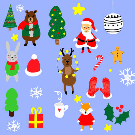 Christmas set with cartoon New Year characters. Collection of xmas elements for greeting card design. Christmas icons.