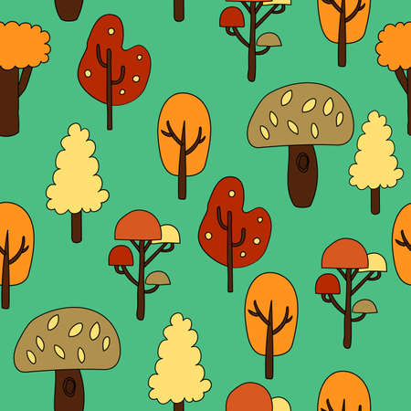 Seamless pattern with autumn trees. Vector illustration.
