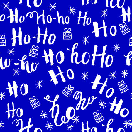 ho pattern with snowflakes. Seamless christmas pattern. Hand drawn lettering on red background.
