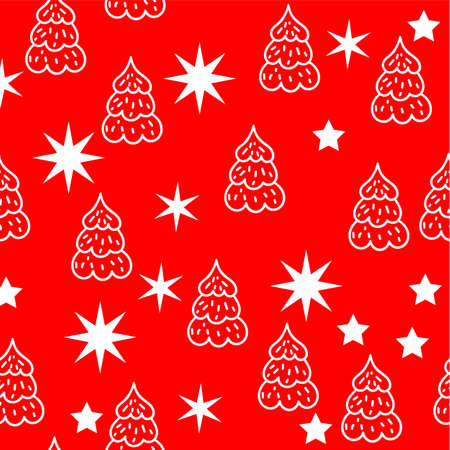 Merry Christmas and Happy New Year seamless background with traditional symbols: stars and Christmas tree. Eps10 写真素材 - 112788766